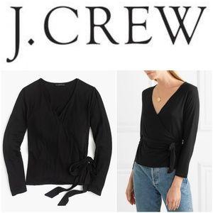 NWT J. Crew Black Wrap Top